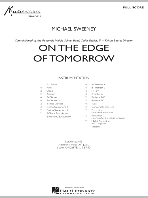 On the Edge of Tomorrow (COMPLETE) sheet music for concert band by Michael Sweeney. Score Image Preview.