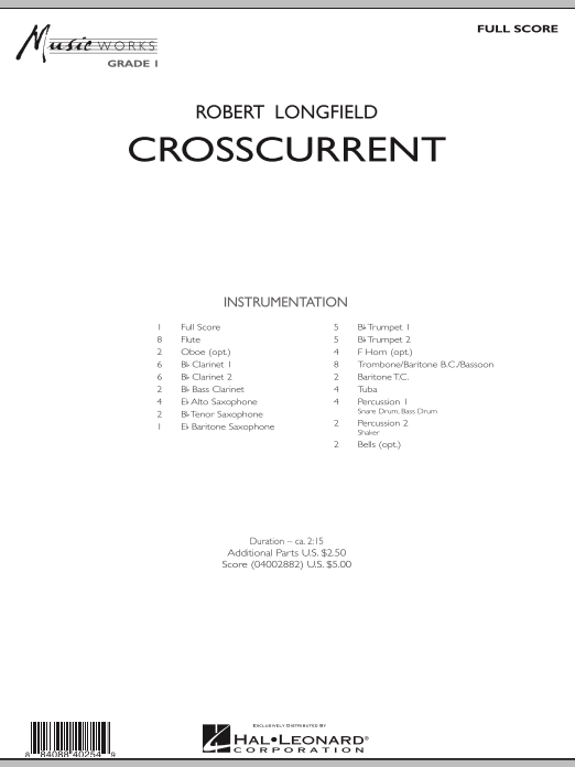 Crosscurrent (COMPLETE) sheet music for concert band by Robert Longfield. Score Image Preview.