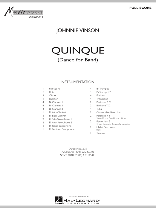 Quinque (Dance for Band) (COMPLETE) sheet music for concert band by Johnnie Vinson. Score Image Preview.