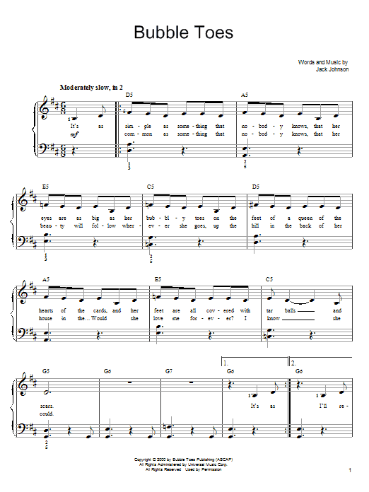 Bubble Toes Sheet Music