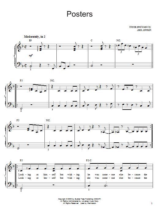 Partition piano Posters de Jack Johnson - Piano Facile