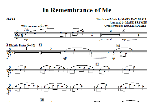 In Remembrance Of Me - Flute Sheet Music