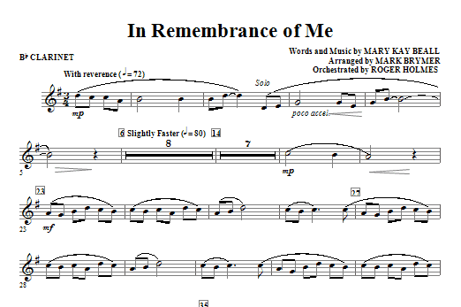 In Remembrance Of Me - Clarinet Sheet Music