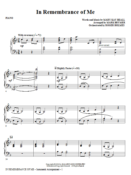 In Remembrance Of Me - Piano Sheet Music