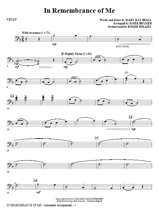 In Remembrance Of Me - Cello Sheet Music
