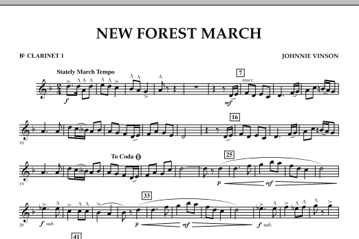 New Forest March - Bb Clarinet 1 (Concert Band)