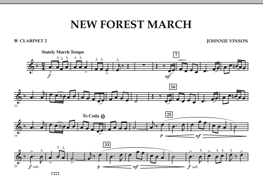 New Forest March - Bb Clarinet 2 (Concert Band)