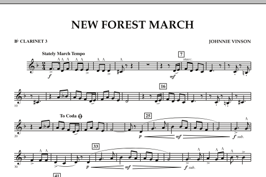 New Forest March - Bb Clarinet 3 (Concert Band)
