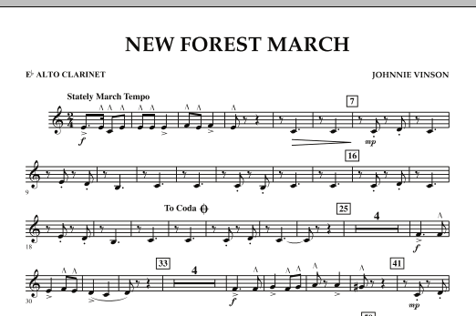 New Forest March - Eb Alto Clarinet (Concert Band)