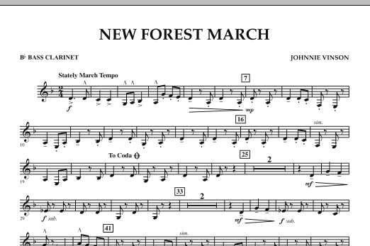New Forest March - Bb Bass Clarinet (Concert Band)