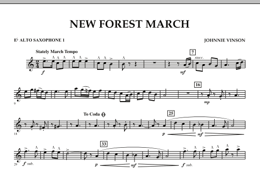 New Forest March - Eb Alto Saxophone 1 (Concert Band)