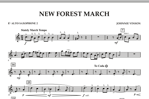 New Forest March - Eb Alto Saxophone 2 (Concert Band)