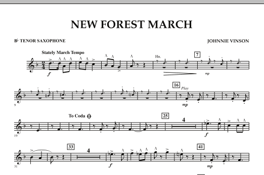 New Forest March - Bb Tenor Saxophone (Concert Band)