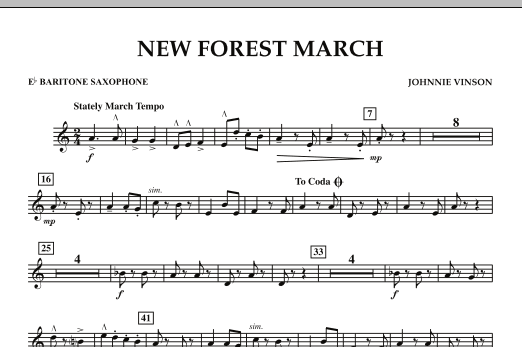 New Forest March - Eb Baritone Saxophone (Concert Band)