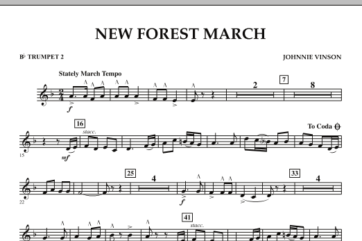 New Forest March - Bb Trumpet 2 (Concert Band)