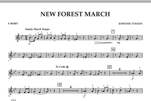 New Forest March - F Horn (Concert Band)