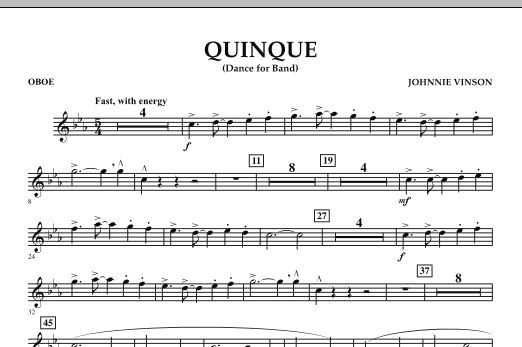 Quinque (Dance for Band) - Oboe (Concert Band)