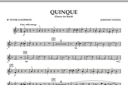 Quinque (Dance for Band) - Bb Tenor Saxophone (Concert Band)