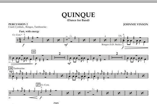 Quinque (Dance for Band) - Percussion 2 (Concert Band)