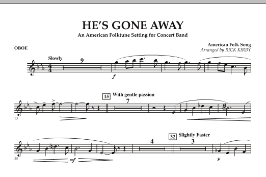 He's Gone Away (An American Folktune Setting for Concert Band) - Oboe (Concert Band)