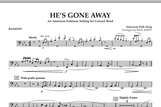 He's Gone Away (An American Folktune Setting for Concert Band) - Bassoon (Concert Band)