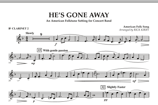 He's Gone Away (An American Folktune Setting for Concert Band) - Bb Clarinet 2 (Concert Band)