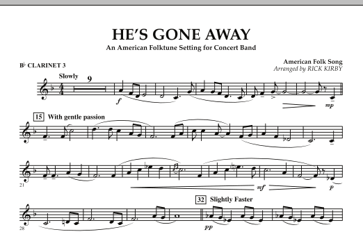 He's Gone Away (An American Folktune Setting for Concert Band) - Bb Clarinet 3 (Concert Band)