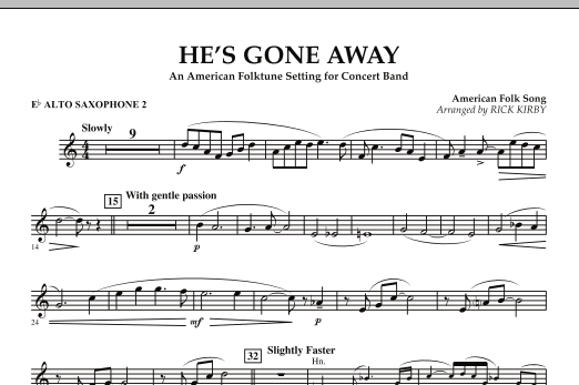He's Gone Away (An American Folktune Setting for Concert Band) - Eb Alto Saxophone 2 (Concert Band)