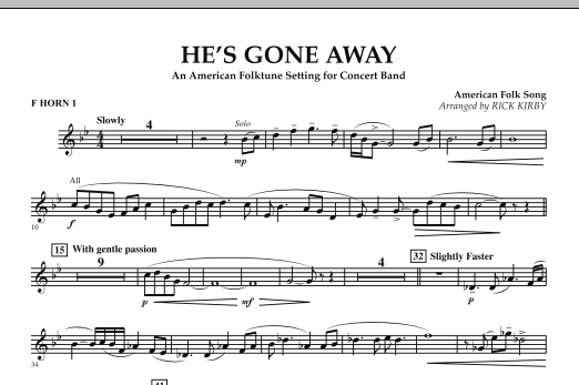 He's Gone Away (An American Folktune Setting for Concert Band) - F Horn 1 (Concert Band)
