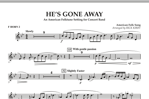 He's Gone Away (An American Folktune Setting for Concert Band) - F Horn 2 (Concert Band)