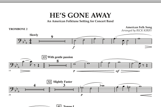 He's Gone Away (An American Folktune Setting for Concert Band) - Trombone 2 (Concert Band)