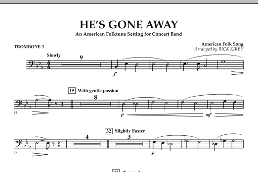 He's Gone Away (An American Folktune Setting for Concert Band) - Trombone 3 (Concert Band)