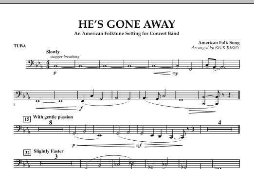 He's Gone Away (An American Folktune Setting for Concert Band) - Tuba (Concert Band)