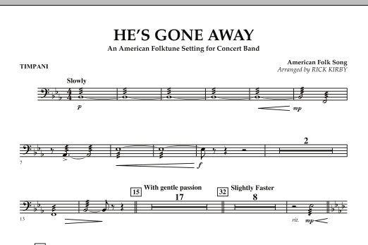 He's Gone Away (An American Folktune Setting for Concert Band) - Timpani (Concert Band)