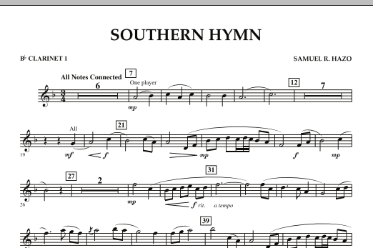Southern Hymn - Bb Clarinet 1 (Concert Band)