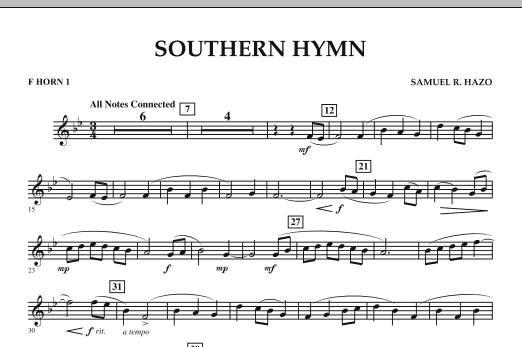 Southern Hymn - F Horn 1 (Concert Band)