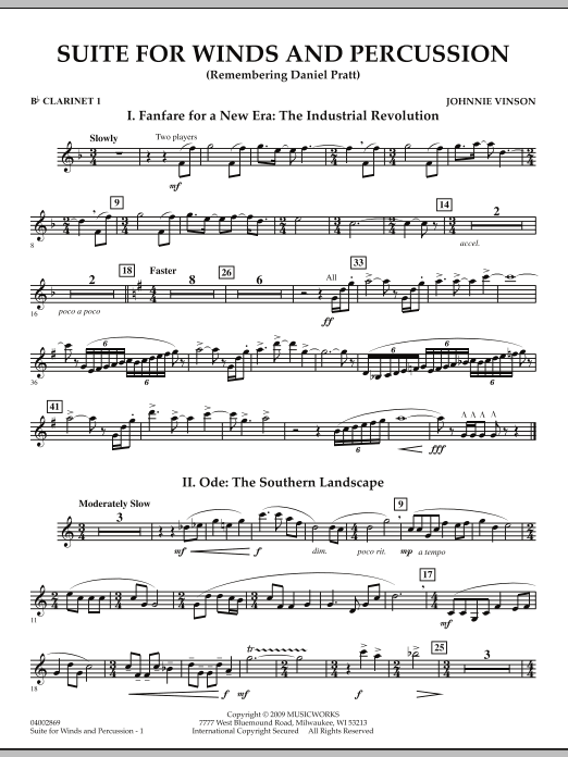 Suite for Winds and Percussion - Bb Clarinet 1 (Concert Band)