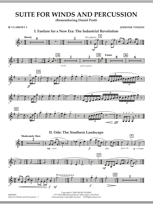 Suite for Winds and Percussion - Bb Clarinet 2 (Concert Band)