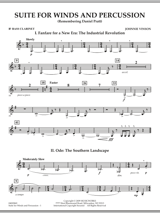 Suite for Winds and Percussion - Bb Bass Clarinet (Concert Band)