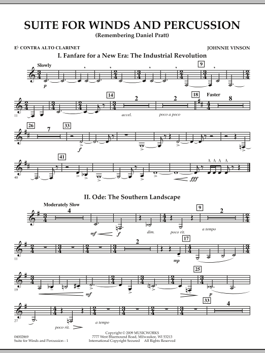 Suite for Winds and Percussion - Eb Contra Alto Clarinet (Concert Band)