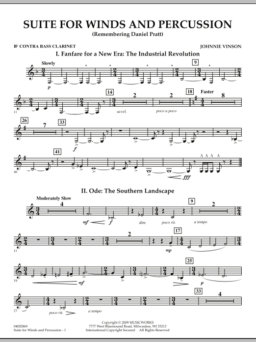 Suite for Winds and Percussion - Bb Contra Bass Clarinet (Concert Band)