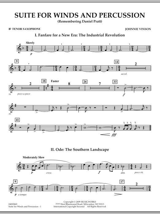 Suite for Winds and Percussion - Bb Tenor Saxophone (Concert Band)