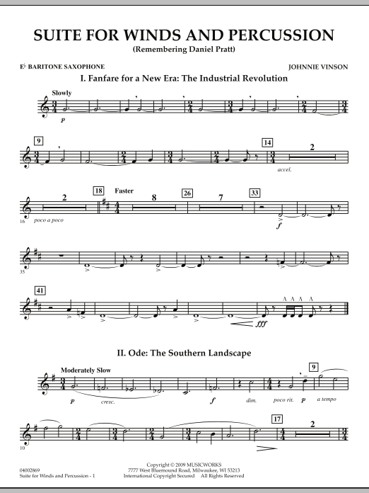 Suite for Winds and Percussion - Eb Baritone Saxophone (Concert Band)