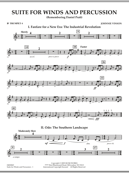 Suite for Winds and Percussion - Bb Trumpet 4 (Concert Band)