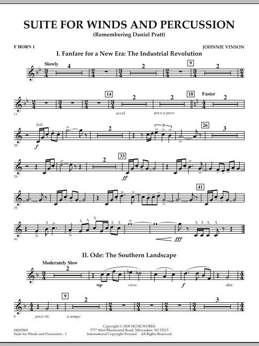 Suite for Winds and Percussion - F Horn 1 (Concert Band)
