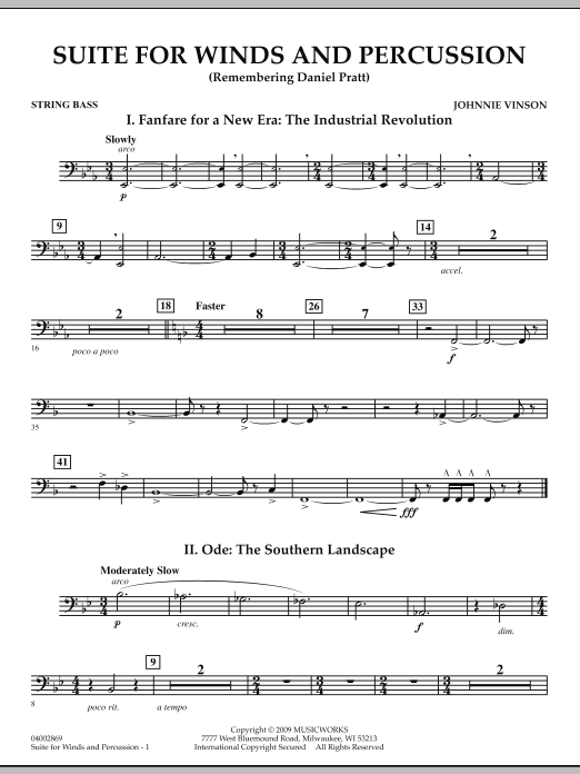 Suite for Winds and Percussion - String Bass (Concert Band)