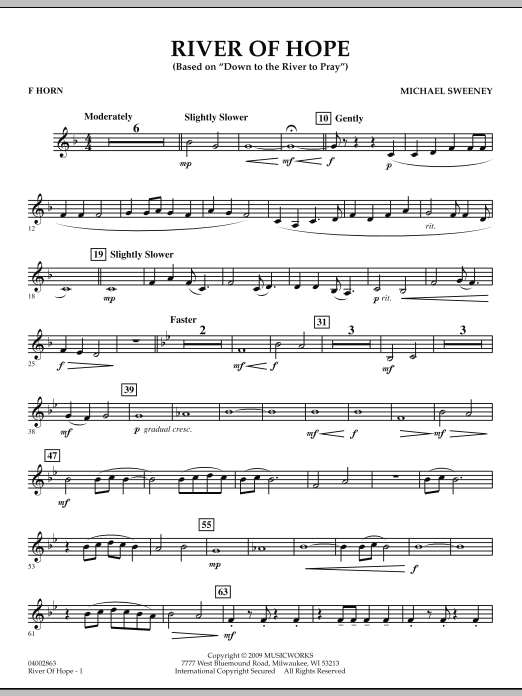 River of Hope - F Horn (Concert Band)