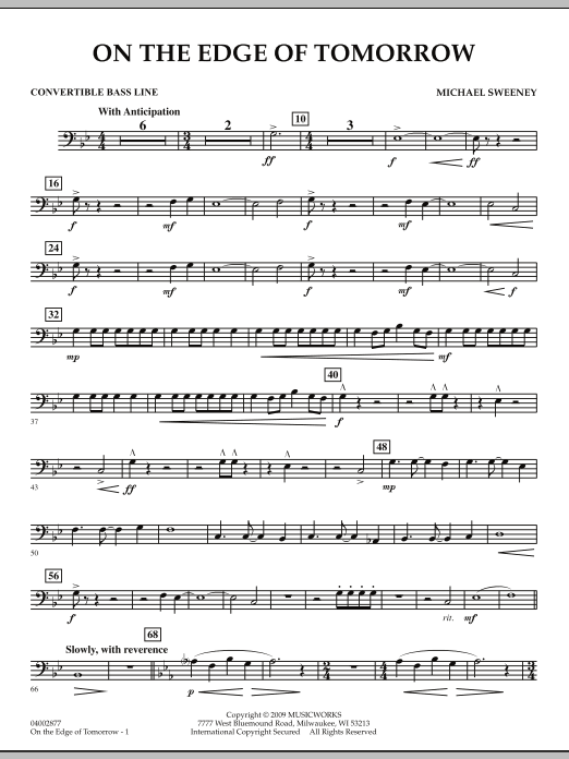 On the Edge of Tomorrow - Convertible Bass Line (Concert Band)