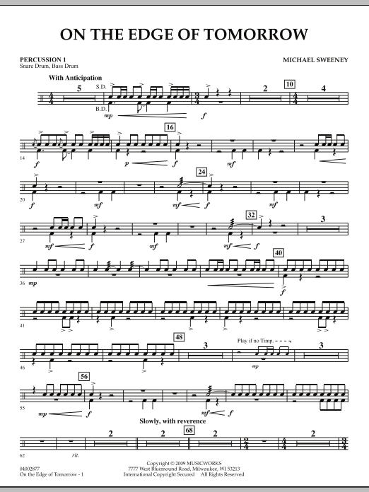 On the Edge of Tomorrow - Percussion 1 (Concert Band)