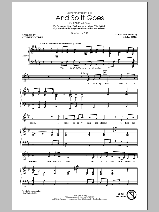 And So It Goes (arr. Audrey Snyder) (SATB Choir)